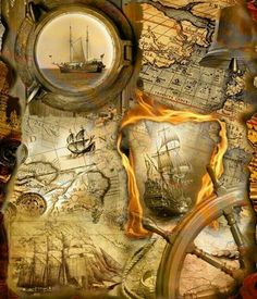 Old Maps, Antique Maps, Vintage Maps, Vintage Posters, Karten Tattoos, Molduras Vintage, Pirate Maps, Old Sailing Ships, Pirate Life