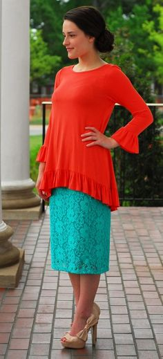 Lace Pencil Skirt - Mint - http://dcmapparel.com/cart/lace-pencil-skirt-mint-p-436.html