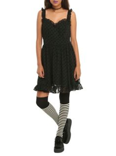 Royal Bones By Tripp Black Flocked Skull Dress