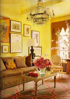 moroccan style rug, traditional chair and coffee table, bold wall