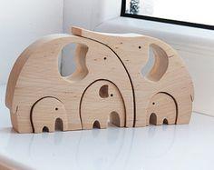 Niños familia de regalos  conejo Puzzle madera  por LadyEvaDESIGN