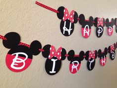 Minnie Mouse Birthday Banner, Mickey Mouse Clubhouse, Minnie Mouse Birthday, Mickey Mouse, Minnie Mouse Garland, Minnie Mouse by CuddleBuggParties on Etsy https://www.etsy.com/listing/228832327/minnie-mouse-birthday-banner-mickey