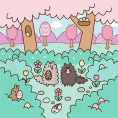 Pusheen : Pusheen's Easter Egg Hunt Easter Wallpaper, Wallpaper Iphone Cute, Pusheen Stormy, Pusheen Love, Chat Kawaii, Cute Kawaii Drawings, Hoppy Easter, Cute Cartoon Wallpapers, Crazy Cats