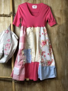 Spring Up cycled Romantic Patchwork Dress Re styled Dress