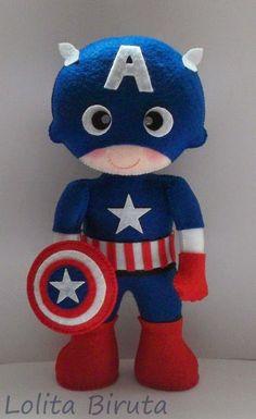 *FELT ART ~ Capitão América em feltro para decoração de festas: