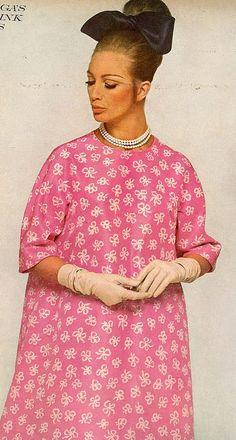 Balenciaga's tunic of vivid India pink silk taffeta, photo by David Bailey for Vogue, 1967