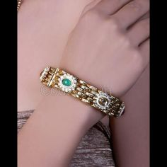 Alluring Gold Plated Polki and Crystal Studded Bangles