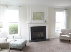 fireplace with faux chimneypiece woodwork trim above mantel - Provident Home Design featured on @Remodelaholic