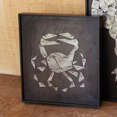 Crab Collage Wall Art Wood/Metal/Paint © Twos Company