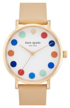 Cheery polka dots mark the dial of a playful round watch set on a smooth leather strap. Brand: kate spade new york. Style Name: kate spade new york 'metro'… Mode Bizarre, Kate Spade New York, Jewelry Accessories, Fashion Accessories, Fashion Jewelry, Women's Fashion, Kate Spade Watch, Def Not, Stud Earrings
