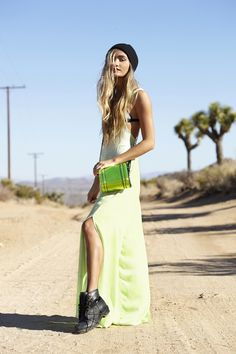 Rosie Cutout Boot & Hologram Satchel in Green - dress coming soon!