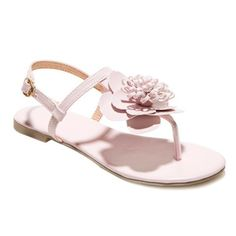 Simple Flat Heel and Flower Design Sandals For Women #CLICK! #clothing, #shoes, #jewelry, #women, #men