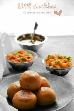 Litti Chokha is a traditional snack food found in India's Bihar state. Litti is basically consists of wheat and sattu (powdered roasted blackgrams ) formed into balls with spices, and then dipped in ghee (clarified butter).