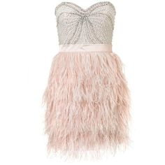 Lipsy V I P Beaded Bust Feather Skirt Dress ($165) ❤ liked on Polyvore featuring dresses, vestidos, layered dress, lipsy, double layer dress, bandeau dress and feather dress