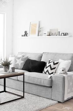 living room with white, black and grey palette