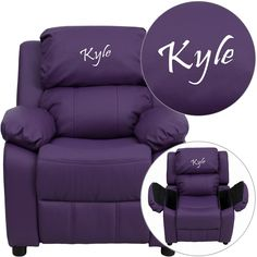 Flash Furniture Personalized Deluxe Vinyl Kids Recliner With Storage Arms Julianna