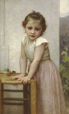 Bouguereau 'Yvonne' 1896 The subject of this painting is Yvonne, one of Bouguereau's favorite models. She and her sisters, Jeanne and Marguerite, who also served as models, lived near La Rochelle, where Bouguereau found artistic inspiration on successive summers with his family from 1893 until the end of his career. Yvonne is immortalized at various stages of her childhood in a succession of Bouguereau's paintings.