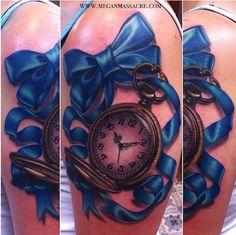 Pocket watch tattoo by Megan Massacre Band Tattoos, Ribbon Tattoos, Watch Tattoos, Tatoos, Rose Tattoos, Girl Tattoos, Compass Tattoo, Arm Tattoo, Sleeve Tattoos