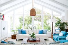 """At home with Miranda Kerr: """"I like that people know that they can come by and just hang out,"""" she explains. """"They can make themselves at home."""" The home also features a guesthouse and a pool house."""