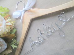 Personalized wedding hanger - Wedding hanger -Bridal shower gift - Bridesmaid gift - Ships from U.S. - FREE love or mrs ring included on Etsy, $10.00