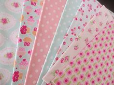 Quilt pack set of 7 cotton fabrics Teal and Pink by FitaDeVies, €13.50