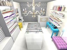 Retail Interior Design, Boutique Interior, Candy Arrangements, Nail Salon Design, Storing Clothes, Makeup Store, Vape Shop, Beauty Bar, Beauty Supply