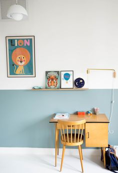 Handmade Home Decor Guest Room Office, Home Office Decor, Shared Boys Rooms, Half Painted Walls, Creative Office Space, Cool Kids Rooms, Handmade Home Decor, Bedroom Colors, Home Staging
