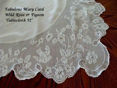 "FAB Antique Linen Lace Tablecloth c1916 MARY CARD Wild Rose & Pigeon 52"" picclick.com"