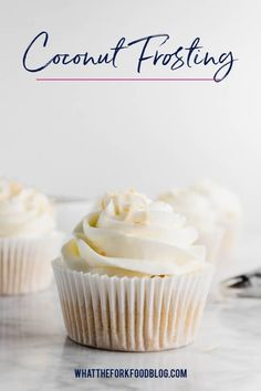 This simple Coconut Frosting recipe tastes anything but basic. Its got tons of tropical coconut flavor! It pairs great w Coconut Buttercream Frosting Recipe, Coconut Frosting, Coconut Cupcakes, Icing Recipe, Frosting Recipes, Kokos Desserts, Coconut Desserts, Chocolate Desserts, Easy Desserts