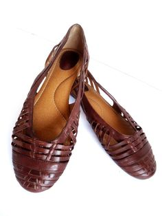 Fossil Brown Woven Leather Slip On Ballet Flats Women's Size 10M #Fossil #BalletFlats