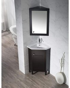 dCOR design Millard Single Corner Bathroom Vanity Set with Mirror Base Finish: Espresso Corner Bathroom Vanity, Mold In Bathroom, Best Bathroom Vanities, Bathroom Vanity Cabinets, Guest Bathrooms, Chic Bathrooms, Vanity Sink, Bathroom Storage, Small Bathroom