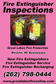 Fire Extinguisher Inspections Neosho, WI (262) 798-0444 Discover the Complete Source for Fire Protection Equipment and Service.. We're Great Lakes Fire Protection!! Call us Today!