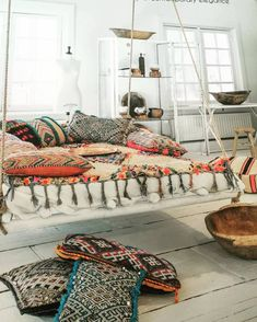Hanging Beds, Outside Furniture, Puja Room, Living Room Kitchen, Porch Swing, Home Bedroom, Decoration, Ibiza, Interior Decorating
