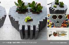 HomeMade Modern DIY 8-Bit Concrete Skull Planter Postcard