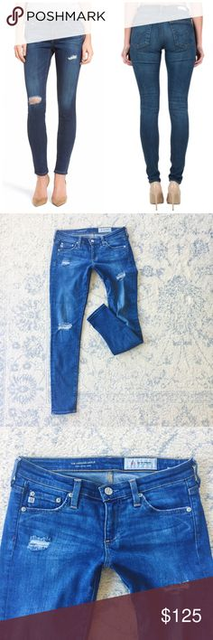"""{AG Adriano Goldschmied} 8 Years Wander Skinny Saturated with a gorgeous indigo wash and strategically shredded, ultrasoft stretch jeans offer the supreme comfort of leggings with plenty of authentic denim appeal. Worn 3x  c o n t e n t + 64% tencel lyocell 