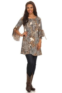 Animal multi print gray/brown tunic western cowgirl wear out dancing with this one with faux suede sleeve ties and poly. material fits true