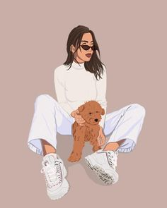 I create a personalized digital illustration of you and your pet based on any image you choose. Art And Illustration, Portrait Illustration, People Illustration, Portraits Illustrés, Portrait Art, Cartoon Kunst, Cartoon Art, Art Mignon, Abstract Face Art
