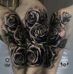 Rose tattoo half-sleve