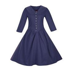 $26.39 Retro Front Button Flare Dress