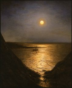 "Alexei Bogoliubov (Russian, - ""Moonlight at Pornic"", 1867 - Oil on… Nocturne, Old Paintings, Landscape Paintings, Moonlight Painting, Beautiful Moon, Moon Art, Belle Photo, Night Skies, Dark Art"