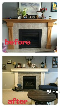 Fireplace transformation!! I'm loving the new look!!