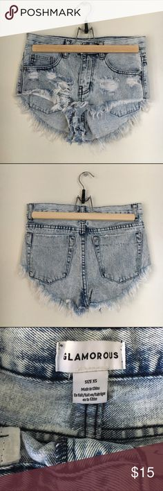 Glamorous x Urban Outfitters Denim Shorts High rise destroyed and cheeky acid wash shorts. Worn twice to a music festival and washed...super cheeky indeed! Looks so cute with a cropped tee and a flower crown ✌️  ✨ABOUT✨ 💗Open to offers! 💗Please ask questions!  🦋I'm getting married next year! All purchases will go to funding a party for love!🦋 Urban Outfitters Shorts Jean Shorts