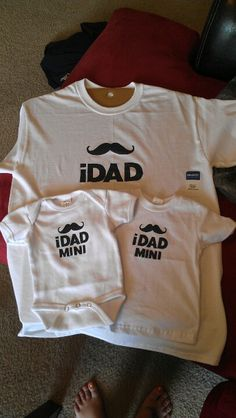 Made these cute father son shirts for bringing home my new born son and for everyday outings. Super simple. Took some plain shirts two stencils in different sizes for the mustaches and different size lettering. I centered them and took fabric pen to trace it out and then fabric paint to fill it in. My hubby was the one that came up with the saying I just made it happen!! I love matching father/son outfits!!!!