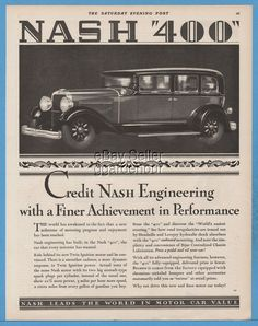 nash 400 sedan antique motor car automobile engineering ad