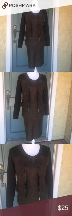 Kardashian Kollection 2 Piece Dress and Jacket Kardashian Kollection 2 Piece Dress and Jacket. Black and brown with pleather detail. Can be worn separately. Inside arms of jacket show some wear. Jacket is XS and dress is S. Kardashian Kollection Dresses Midi