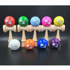 Outdoor Fun Red Yellow Blue Green White kendama Ball Strings Juggling Game Professional Toy Ball Sport Leisure Cartoon Face #Affiliate