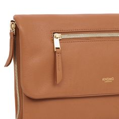 Elektronista Mini Digital Leather Clutch Bag in Caramel | KNOMO | A stylish and luxurious mini clutch designed for a large smartphone and evening essentials. Comes with a detachable webbing strap, allowing you to carry over the shoulder or cross-body