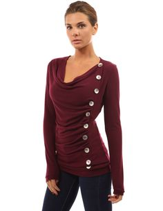 PattyBoutik Women's Cowl Neck Button Embellished Top at Amazon Women's Clothing store: Sweater