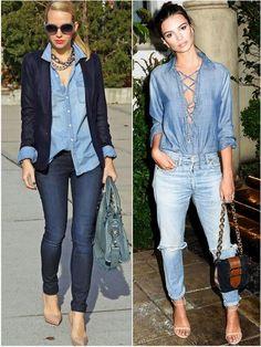 Сравним: джинсовая рубашка и джинсы с пиджаком и без. Первый образ более строгий, второй, более свободный.