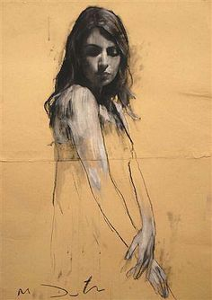 """Sheri standing Pastel and Collage 32"""" x 44"""", Art by Mark Demsteader"""